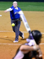 White House junior pitcher Madeline Cain delivers a pitch to Station Camp freshman Gabriella Sarabia during second-inning action on Tuesday evening.