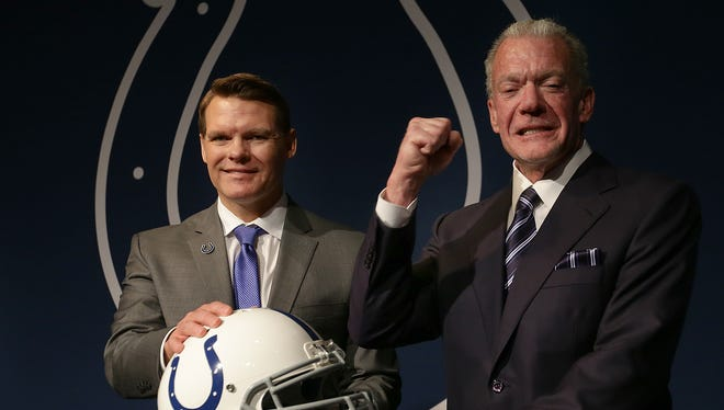 Chris Ballard was introduced as the Indianapolis Colts new general manager  Monday, January 30, 2017, afternoon at the Colts Indiana Farm Bureau Football Center. Here he is with Colts owner/CEO Jim Irsay.
