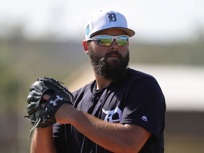 Detroit Tigers pitcher Michael Fulmer works on infield