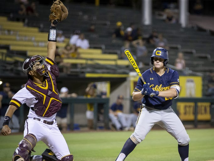 Sophomore catcher Lyle Lin (27) of the Arizona State