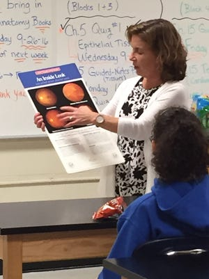 Dr. Lynne Porreca, an optometrist and Millville City Commissioner, was a guest speaker for the Health Professions Club at Millville Senior High School