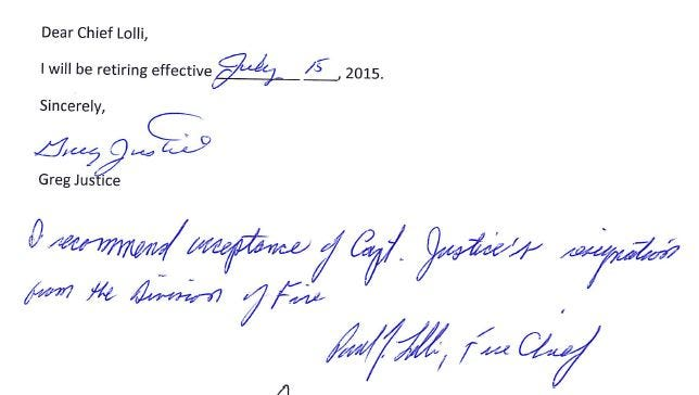 This is a screenshot of the resignation letter fire Capt. Greg Justice signed earlier this week.