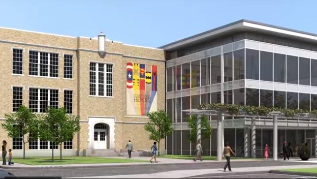 Screen shot of artist rendering of Abilene Heritage Square proposal video from Abilene Heritage Group.