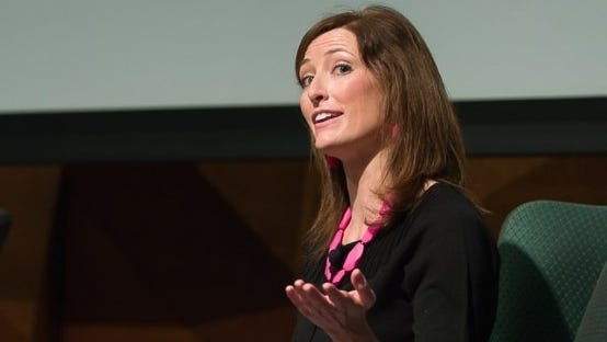 """Colorado State University Sociology professor Lori Peek answers questions after her President's Community Lecture titled """"Katrina to Colorado: How Children of Disaster Change Lives,"""" September 30, 2014."""