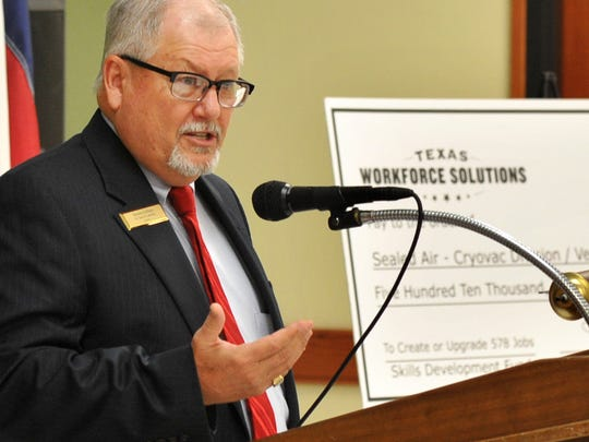Dr. Dusty Johnston, President Vernon College after a grant presentation from The Texas Workforce Commission Monday afternoon. The grant will be used to help train current and future employees of Sealed Air Cryovac Division, according to a release from Vernon College.