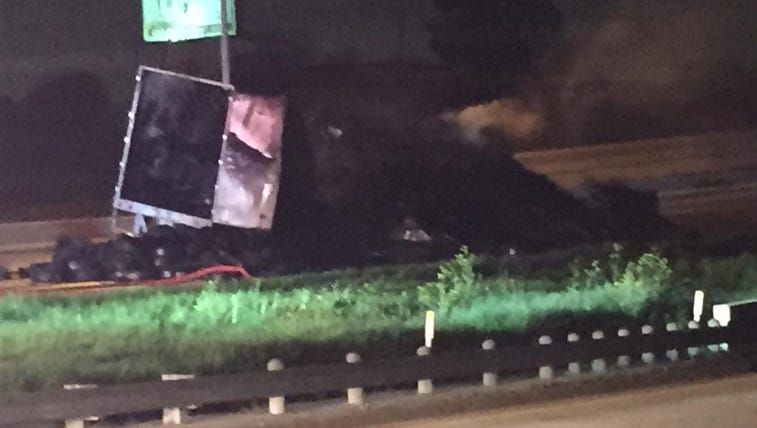 18-wheeler catches fire and crashes in Lancaster.