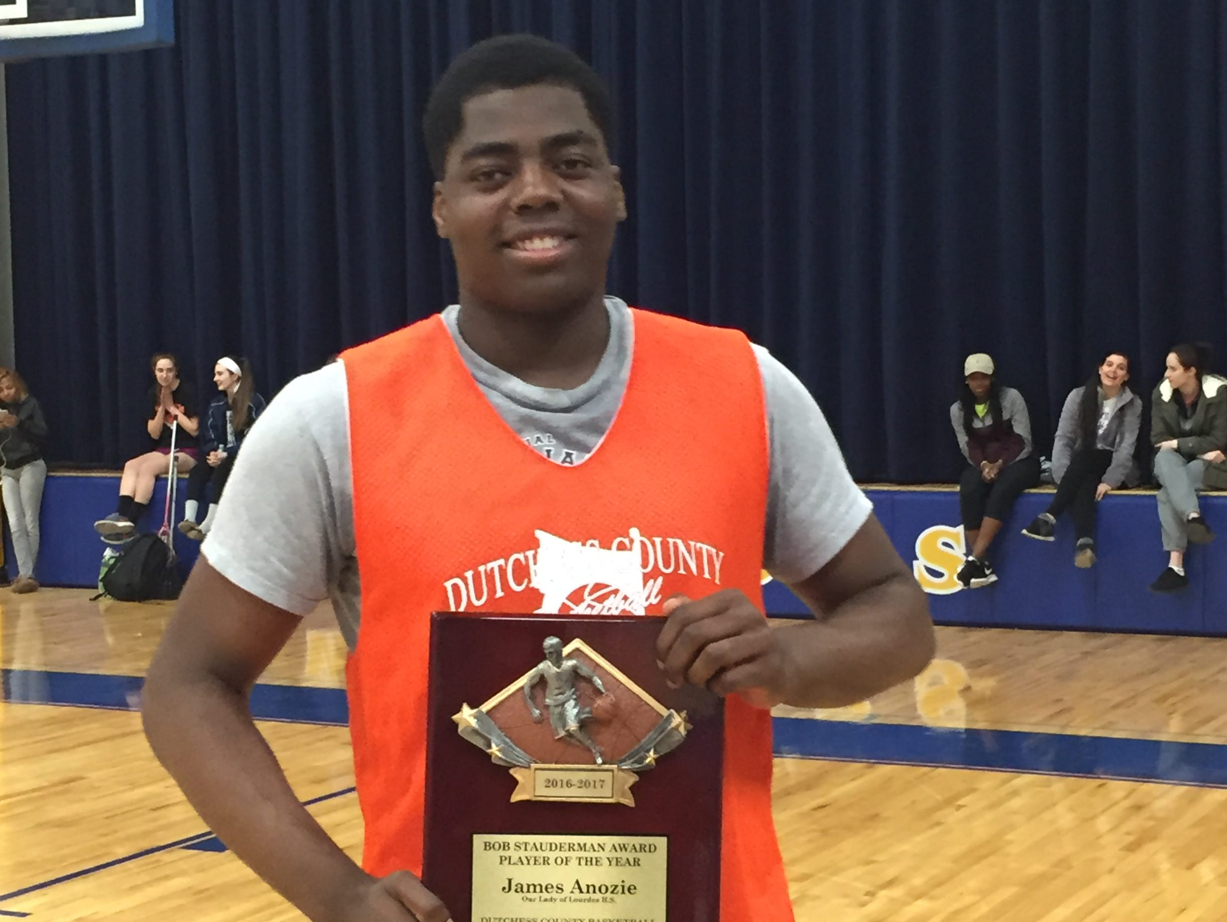 Our Lady of Lourdes' James Anozie was named Dutchess County Basketball Coaches Association Player of the Year at Monday's Exceptional Senior game at Lourdes.