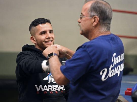 Oscar Vasquez and coach Don Fain at the Mitey Mites