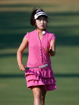 Lucy Li walks up to the second green during a practice round for the U.S. Women's Open golf tournament Wednesday in Pinehurst, N.C.