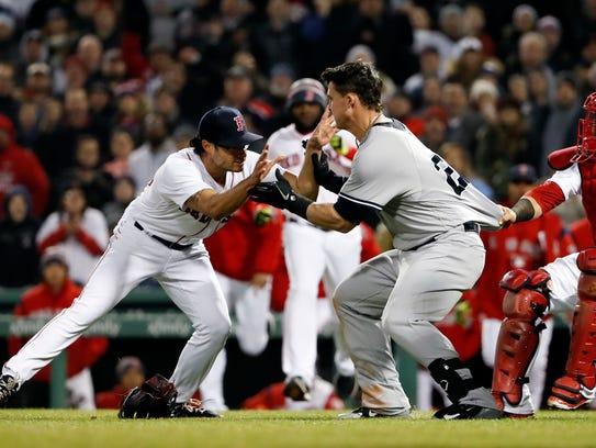 New York Yankees first baseman Tyler Austin (26) starts