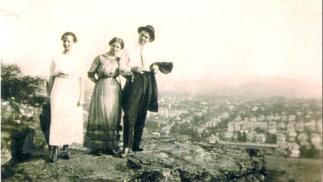 Harry E. Lane and Ethel Stout, the couple on the left, are shown atop Mount Pleasant in 1914. They were married the following year.