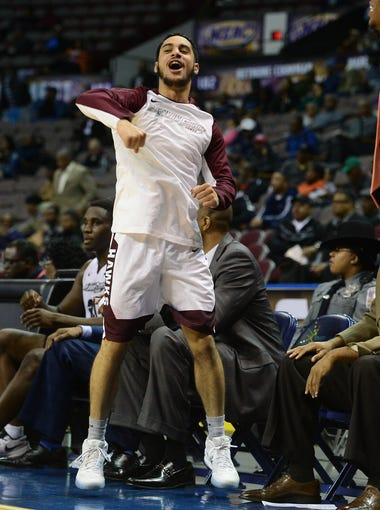 The Shore's Thomas Rivera celebrates after a 3-Pointer against North Carolina A&T at the MEAC Basketball Championships in Norfolk, Va. on Monday, March 6, 2017.