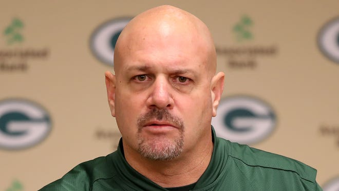 Green Bay Packers defensive coordinator Mike Pettine talks about his new role with the team on Jan. 24, 2018, at Lambeau Field.
