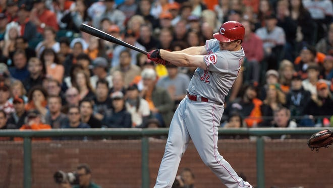 Reds right fielder Jay Bruce hits at AT&T Park.