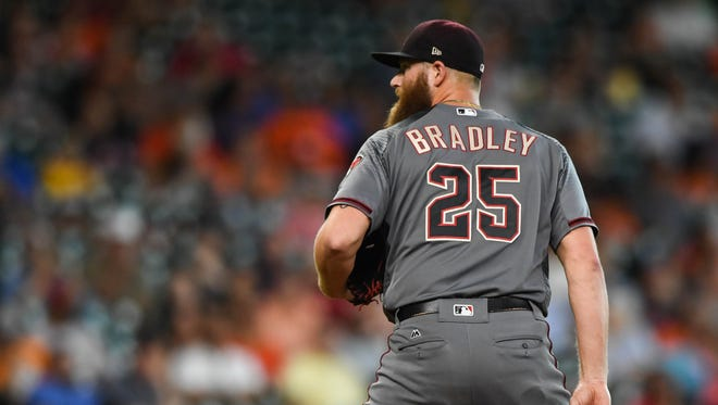 Aug 17, 2017: Arizona Diamondbacks relief pitcher Archie Bradley (25) prepares to pitch during the ninth inning against the Houston Astros at Minute Maid Park.