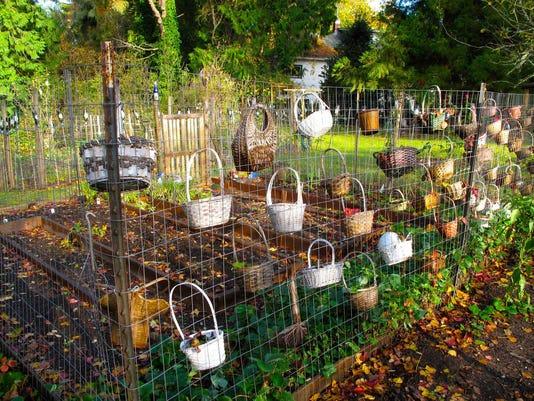 Baskets integrated into a garden