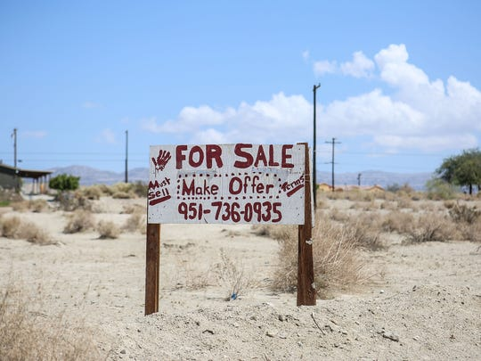 A lot for sale at the Riverside County community of North Shore, off Highway 111 by the Salton Sea.