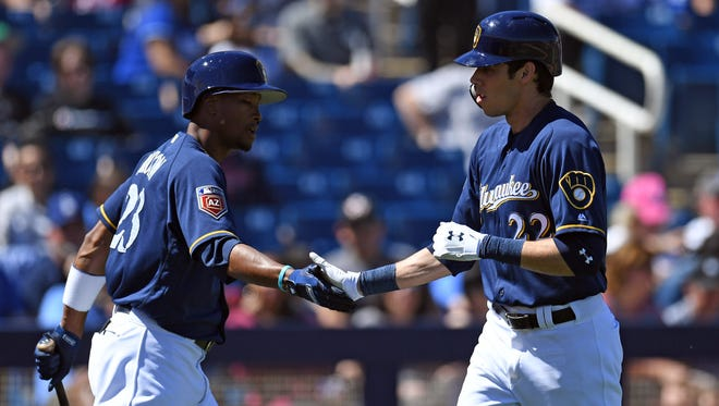 Brewers fans were thrilled with the acquisition of Christian Yelich, but Keon Broxton, left, and other proven players have nowhere to play.