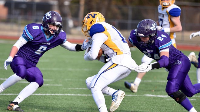 Tyler Gerety (left) is one of a handful of returning starters for Nemaha Central from last year's Class 2A state championship team. The Thunder claimed the program's first state title with a 19-0 win over Norton in the championship game.