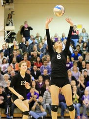 Setting the ball during the Class D regional final