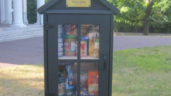 A micro food pantry in Winchester.