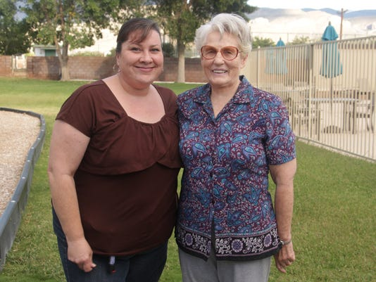 Sue Hooser with former student Rebecca Sierra