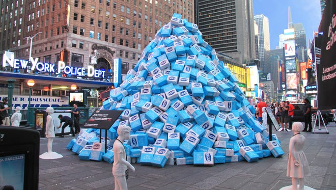 Tuesday, snack food company KIND dumped 45,485 pounds of sugar in Times Square to show how much added sugar children in the U.S. are eating every 5 minutes.