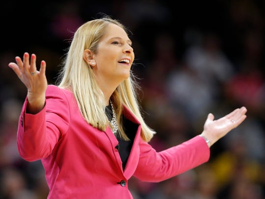 Maryland head coach Brenda Frese questions a call against her team during the first half of an NCAA college basketball game against Iowa, Sunday, Feb. 17, 2019, in Iowa City, Iowa. (AP Photo/Charlie Neibergall)
