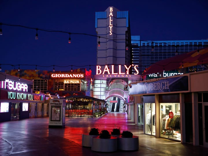 An outdoor mall at Bally's Las Vegas along the Las Vegas Strip sits empty during the coronavirus pandemic.