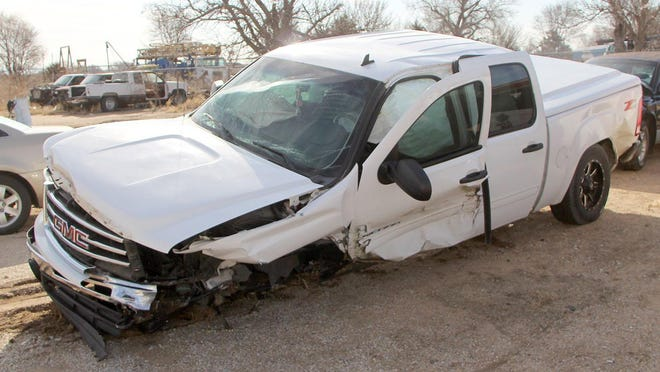 A 2012 GMC pickup shows damage on the drivers side (above) following a two-vehicle accident Feb. 29 on North U.S. 281 about 12 miles north of Pratt. Injured in the pickup were driver 18-year-old Aaron Juarez. 32-year-old Fatima Lopez-Ruiz, 4-year-old Dante Vasquez, and 43-year-old Nohemi Vasquez all of Great Bend. Juarez and Dante Vasquez were treated and released at Pratt Regional Medical Center. No information was available for Fatima Lopez-Ruiz and Nohemi Vasquez.