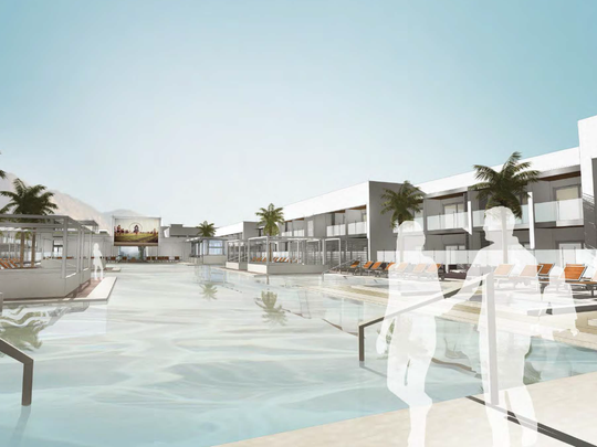 An architect's rendering of the pool area at the Tova Hotel and Beach Club in Palm Springs. The proposed project is a renovation of the shuttered Garden Vista Hotel.