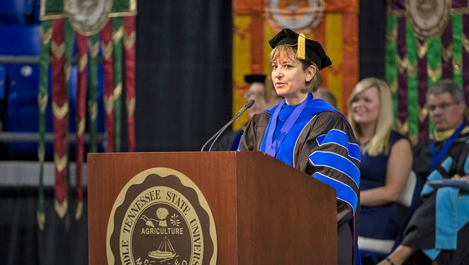 Dr. Tricia Farwell, 2015-2016 Faculty Senate president at MTSU, spoke during the University Convocation held in August at Murphy Center for new students.