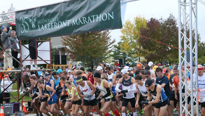 The start of the 35th Lakefront Marathon begins at Grafton High School on Sunday.
