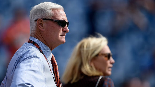 Browns owner Jimmy Haslam watches his team warm up before the game against the Titans at Nissan Stadium Sunday, Oct. 16, 2016, in Nashville, Tenn.