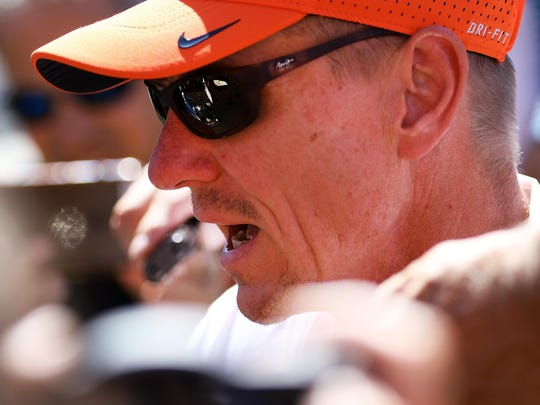 Oregon State head coach Gary Andersen answers questions during media day inside Reser Stadium.