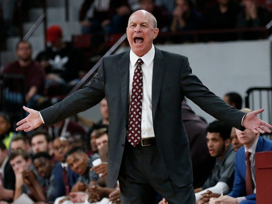 Mississippi State head coach Ben Howland calls to his players during the first half of an NCAA college basketball game against Cincinnati in Starkville, Miss., Saturday, Dec. 15, 2018. (AP Photo/Rogelio V. Solis)