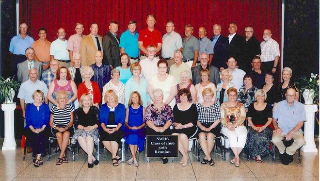 South Western High School Class of 1966 held its 50th class reunion on June 25. Members of the class who attended, front row, from left, are: Winifred (Greening) Wentz, Chris Berwager, Jeanne (Moul) Hull, Linda (Hahn) Fisher, Brenda (Bentzel) Atkinson, Pamela (Rinehart) Flemmens, Susan (Sterner) Platt, Sandy (Zepp) Myers, Carol (Brehm) Clousher, Jackie (Sease) Redding, Paul Keiser; second row: Steve Livelsberger, Jane (Raver) Bankert, Elizabeth (Graybill) Staub, Jeanetta Jane Mundis, Linda (Kappes) Kohler, Mary (Reichart) Arnold, Anna (Reese) Yingling, Faye (Brumgard) Gobrecht, Anna (Dickensheets) Marchio, Mary (Landis) Reindollar, Nancy (Warner) Smith, Shirley (Lillich) Hurst; third row: Gregory Myers, John Amspacher, Donna (Baublitz) Bankert, Richard Hileman, Marlene (Bream) Hansen, Dayne Yost, Ivan Berwager, Lester Mummert, Ron Hansford, Marlin Ness; back row: Ken Becker, Greg Miller, Gordon Shue, Tom Miller, Jack Kintzing, Eugene Louey, Dave Bankert, Jim Miner, Don Gladfelter, John Baummen, Jeff Groft, Gary Linebaugh, Mike Brown, Dennis Lippy and Graham Campbell.