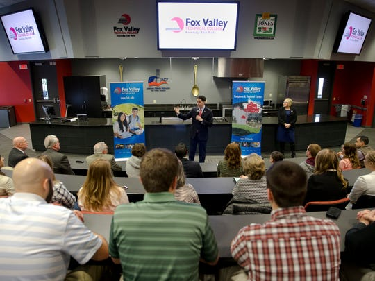 Gov. Scott Walker speaks Thursday to a filled room at Fox Valley Technical College in Grand Chute.