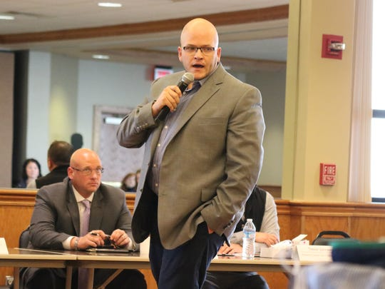 Nate Kehlmeier, of Genoa, a recovering heroin addict, shares his story of recovery during the Ottawa County Opiate Collaborative's public forum in 2017.