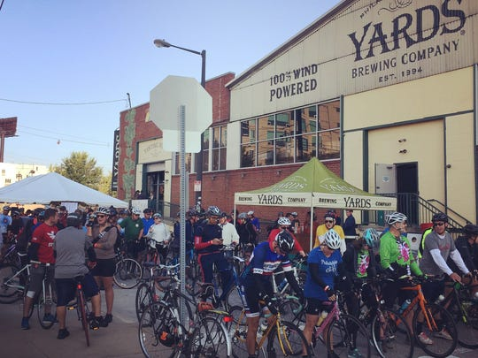 A Bikes and Beers ride in Philadelphia, with Yards Brewery. Started in California, the company now operates rides all over, including the South Jersey area.