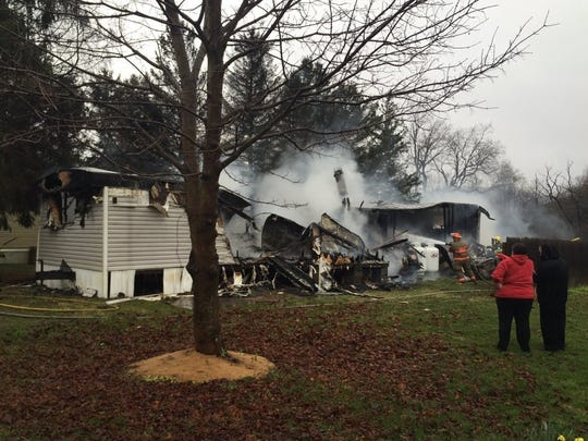 Fire destroyed this mobile home Friday morning in Slaterville.