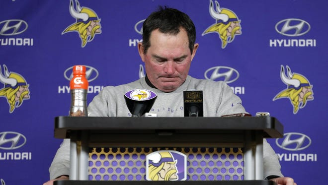 Minnesota head coach Mike Zimmer pauses during a press conference following the Vikings' 10-9 loss to Seattle.