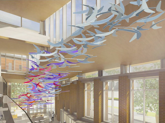 """Digital renderings illustrate artist Koryn Rolstad's plan for """"Illuminated Chroma Wind Trees,"""" which will be assembled in Clemson University's Core Campus during the school's spring break next month."""