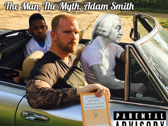 Album cover to HipHoponomics Vol. 2: The Man, The Myth, Adam Smith by M.C. Caskey