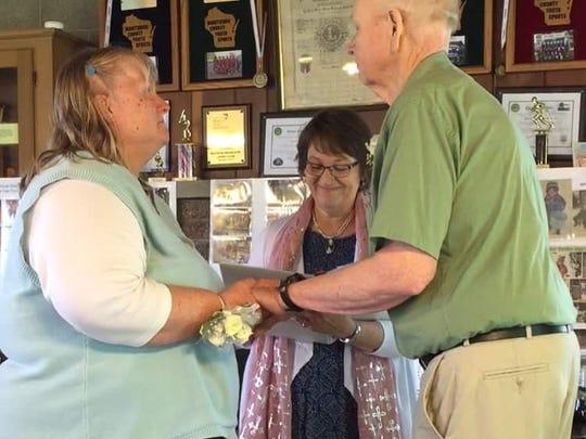 Al and Tessie Micke renew their wedding vows.