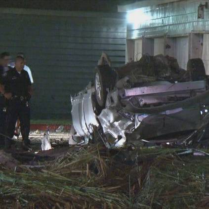 Jacinto City PD said the vehicle hit a couple of fences and a parked car before flipping.