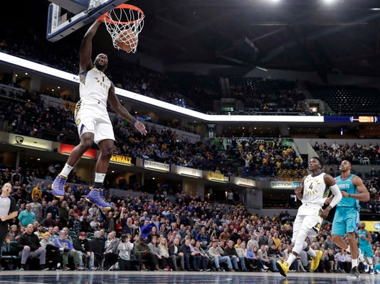 Indiana Pacers guard Lance Stephenson (1) dunks against the Charlotte Hornets during the second half of an NBA basketball game in Indianapolis, Monday, Jan. 29, 2018. (AP Photo/Michael Conroy)