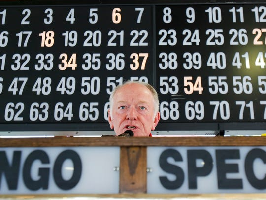 Sam Higdon calls the early morning bingo session  at