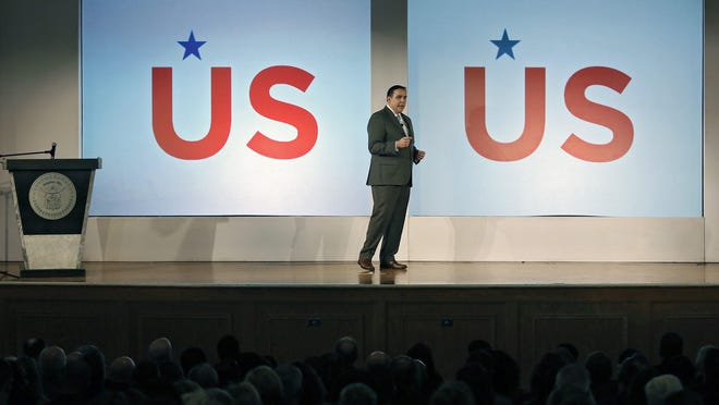 Columbus Mayor Andrew J. Ginther speaks during the 2020 State of the City address at West High School in Columbus, Ohio on February 13, 2020.