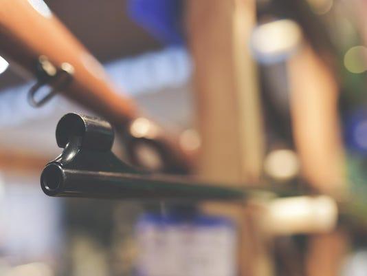 Rifle barrel in hunter shop